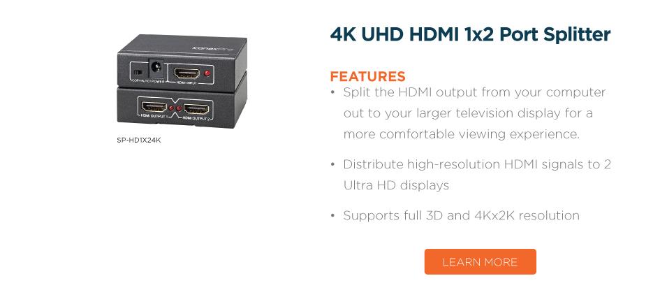 4K UHD HDMI 1x2 Port Splitter