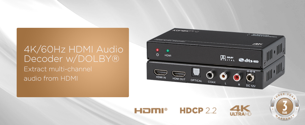4K HDMI Audio Downmixer Dolby