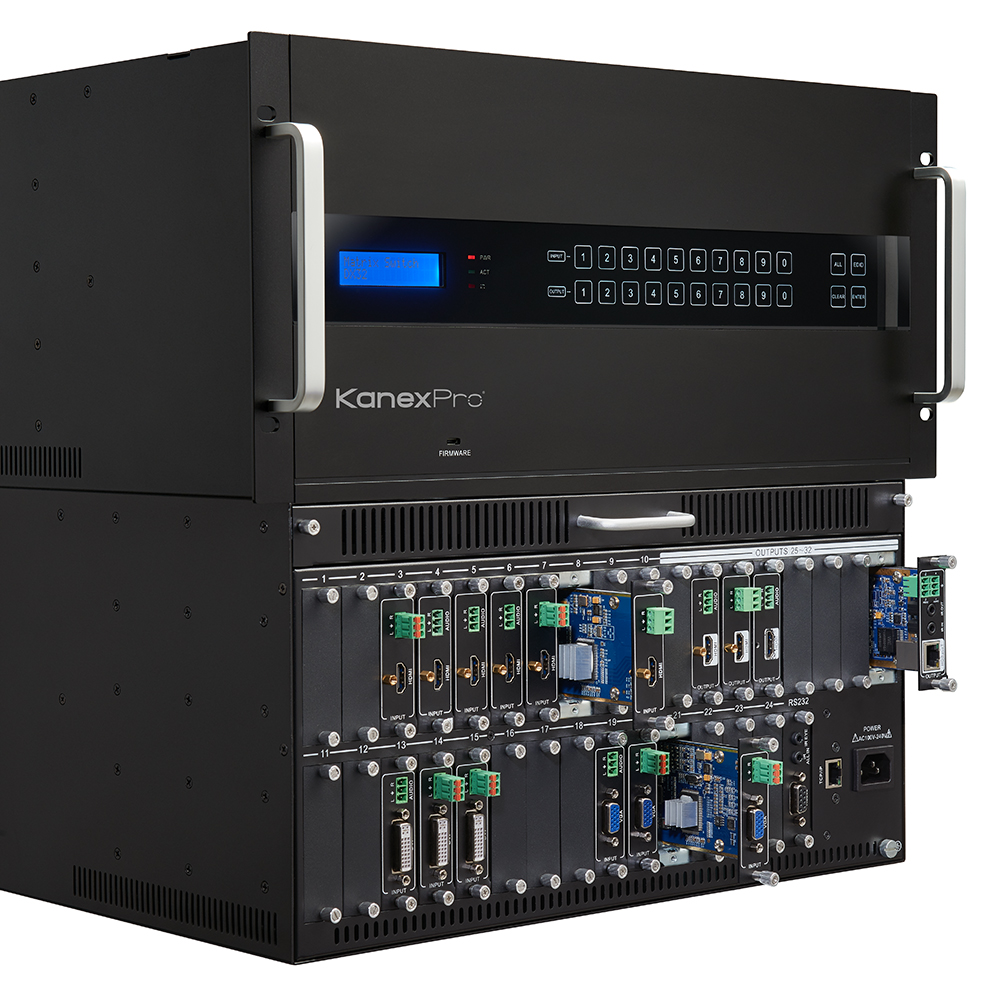 4K Glitch-free modular matrix with 32 PCIe slots and HDCP 2.2