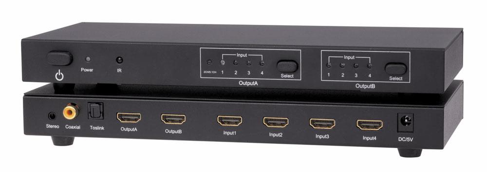 4x2 HDMI Matrix Switch 4 HDMI in 2