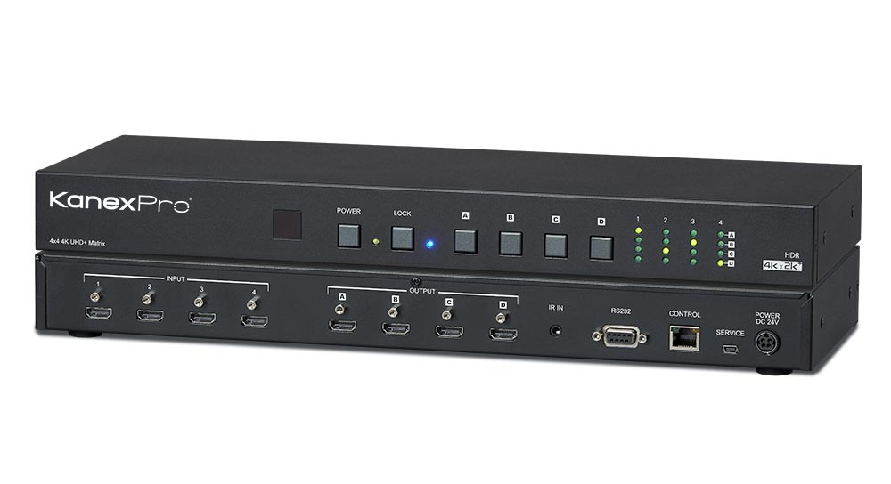 Cross-Switch four HDMI sources to four 4K displays with HDCP2.2