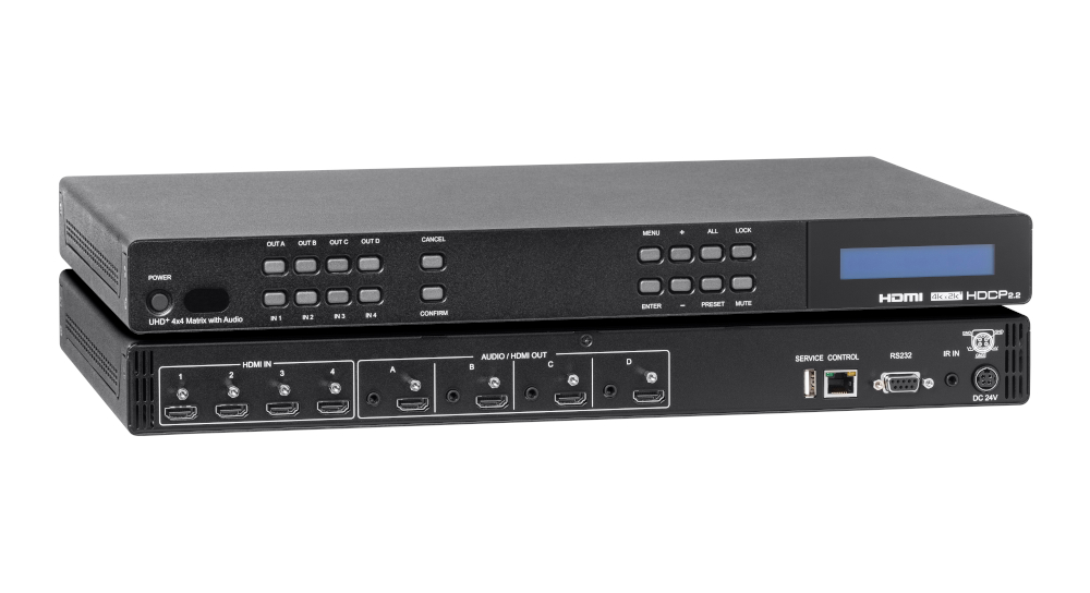 Cross-Switch four HDMI sources to four 4K displays and connect to separate audio amplifiers