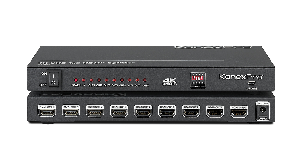 HDMI 1x8 DA with 4K Cinema resolutions & Smart EDID Control