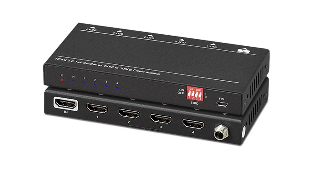 Professional 1x4 HDMI DA with 4K/60 + HDR 10