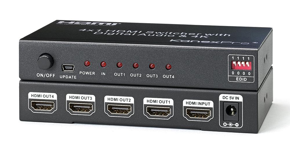 1x4 HDMI Splitter with 4K Cinema resolutions & EDID Selector