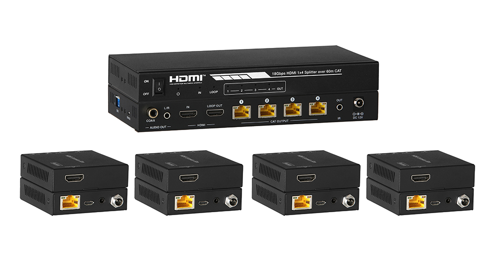 Distribute & Extend HDMI over Single CAT5e/6 to four HD displays