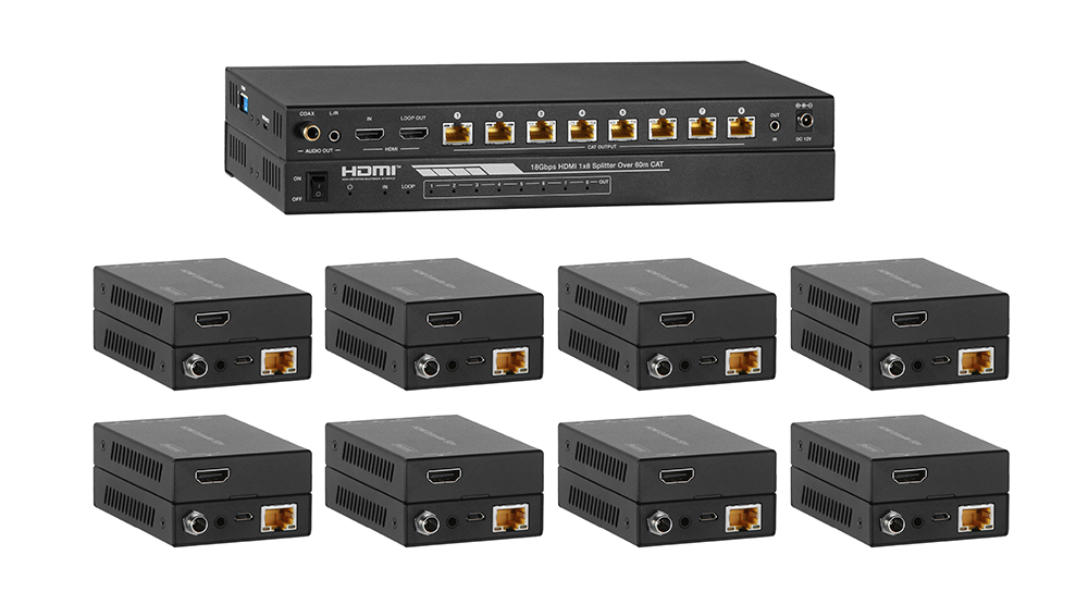 Distribute & Extend HDMI over Single CAT5e/6 to eight HD displays