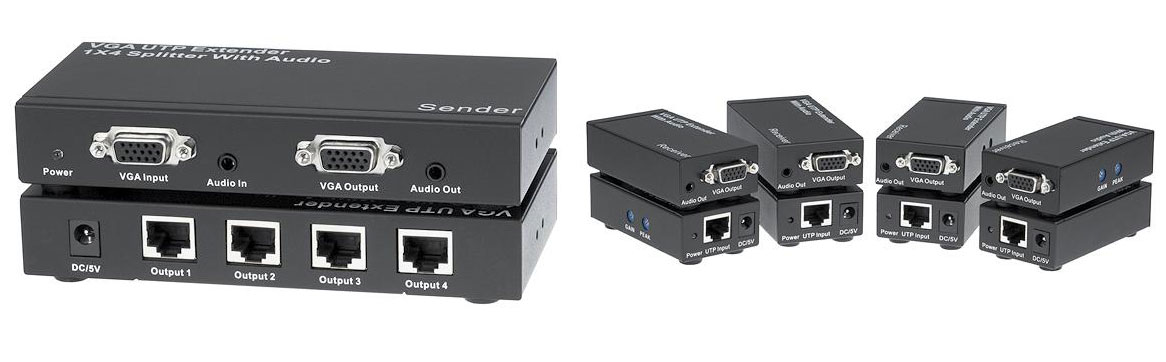 Extend and distribute up to four high-resolution VGA signals over CAT5e/6 cable