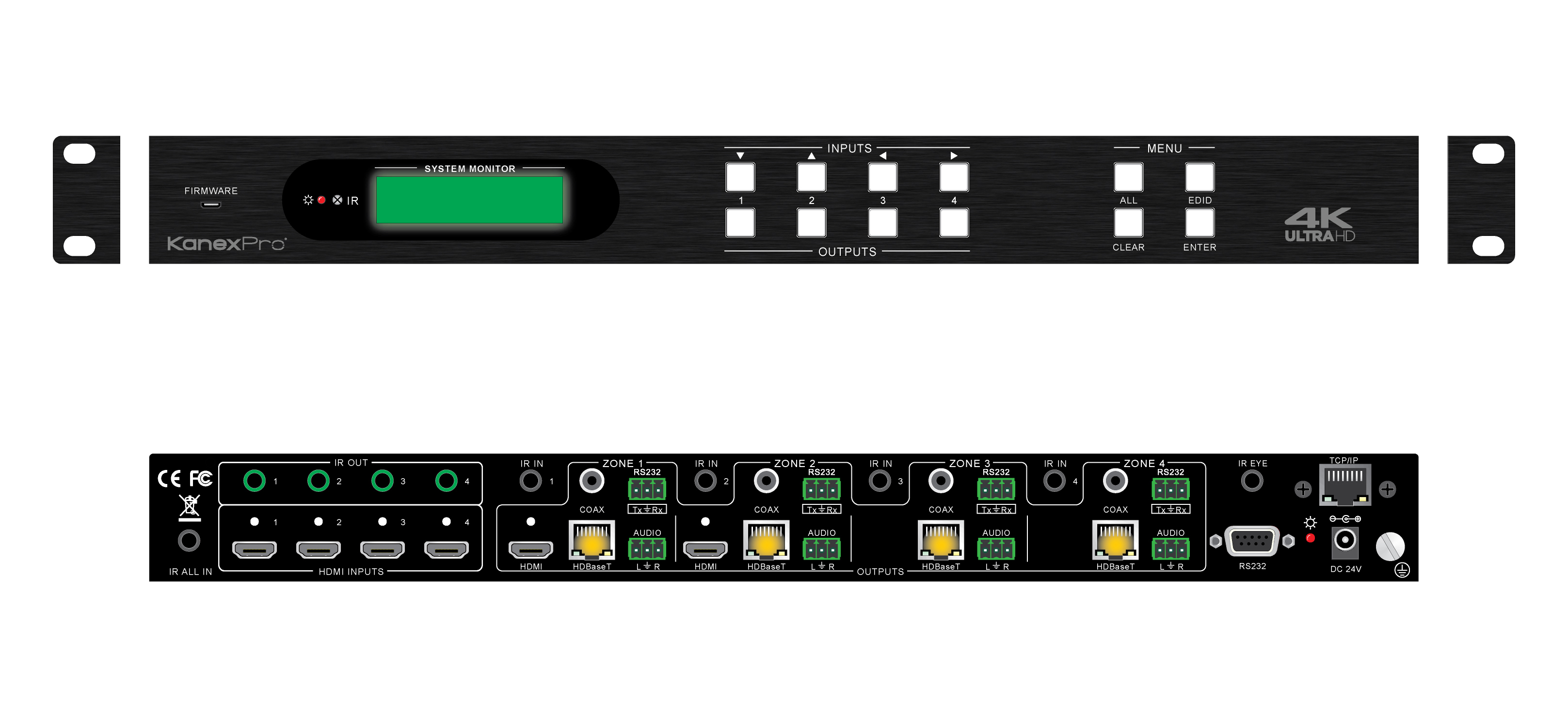 4k 60 Hdbaset 4x4 Matrix Switcher